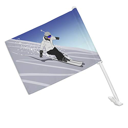 - GRAPHICS & MORE Skiing Down Mountain Skier Snow Skis Car Truck Flag with Window Clip On Pole Holder - Right Passenger Side