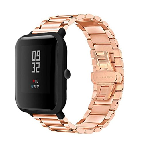 (For Xiaomi Huami Bands,AutumnFall Stainless Steel Bracelet Watch Band Strap For Xiaomi Huami Amazfit Bip Youth Watch (Rose Gold))