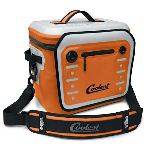 Coolest Vibe Premium Soft-Sided, Insulated, Waterproof Portable Cooler with Fliplock Magnetic Latch and Universal Mount - Perfect for The Beach, Biking, Boating, Camping, tailgaiting (18 Can, Orange)