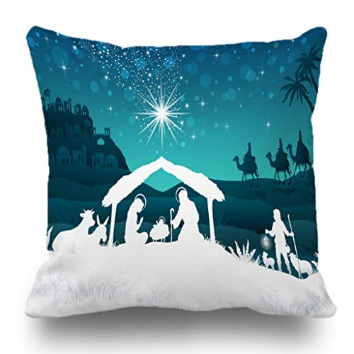 (Batmerry Merry Christmas Theme Decorative Pillow Covers 18 x 18 inch,Nativity Scene Family Oriental Gradient Christmas Star Double Sided Throw Pillow Covers Sofa Cushion Cover Lumbar)