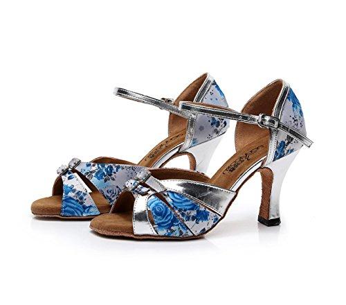 JSHOE Chaussures De Danse Femme Pour Salsa Latin Ballroom Salsa Floral Satin / Tango / Chacha / Samba / Moderne / Chaussures De Jazz Sandales Talons Hauts,Blue-heeled7.5cm-UK7/EU41/Our42
