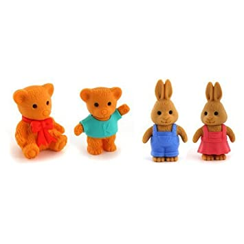 Iwako japoneses Borradores - 2 Teddy bear y 2 conejos (4 piezas)