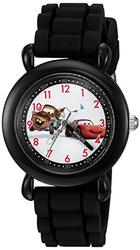 Disney Boy's 'Cars' Quartz Plastic and Silicone Casual Watch, Color:Black (Model: WDS000001)