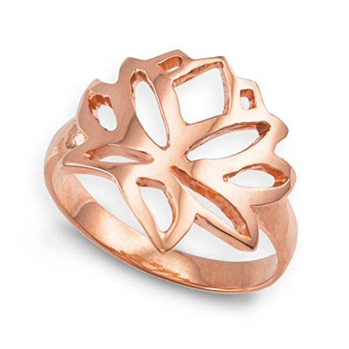 10k Rose Gold Cutout Blossom Band Lotus Flower Ring (Size 12)
