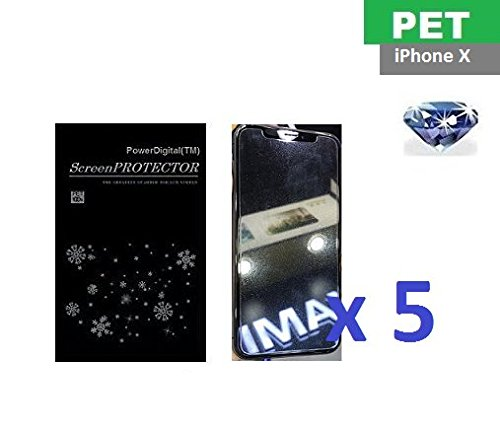 PowerDigital(TM) Diamond Sparkling Glitter Screen Protector for iPhone Xs/X (iPhone 10) 2017 with Lint Cleaning Cloth (Retail Packaging, PET Material) - 5 Pack