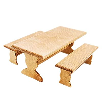 Odoria 1:12 Miniature Garden Long Table and 2 Bench Set Dollhouse Furniture Accessories: Toys & Games