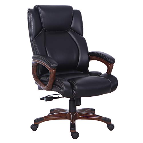 LCH Bonded Leather Relining Office Chair, High Back Executive Computer Desk Chair with Padded Backrest, Seat, Ergonomic Design for Lumbar Support, Adjustable,360°Swivel, Weight Capacity 300 Lbs, Black