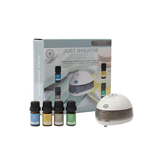 Aroma Essence Just Breathe Essential Oil Diffuser, Includes 4 Oils, Easy to Use, USB/Battery Powered, Use On the Go or at Home