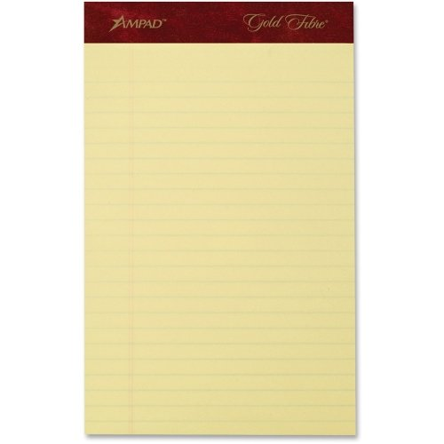 Gold Fibre Premium Writing Pads - Ampad 20029 Gold Fibre Writing Pads, Jr. Legal Rule, 5 x 8, Canary, 50 Sheets, 4/Pack