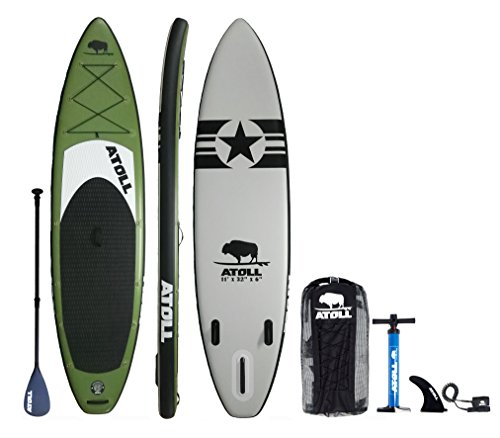 Atoll 11'0' Foot Inflatable Stand Up Paddle Board, (6 Inches Thick, 32 inches wide) ISUP, Bravo Hand Pump and 3 Piece Paddle, Travel Backpack New Paddle Leash Included (green)