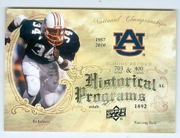 Bo Jackson football card (Auburn Tigers Heisman Winner) 2011 Upper Deck #HP6 Historical Programs by Autograph...