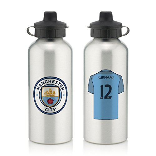 Official PERSONALIZED Manchester City Aluminium Water Bottle with Spring Hook (600ml) - SILVER - FREE PERSONALIZATION by Manchester City F.C.