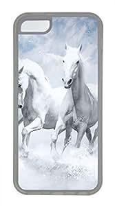 iPhone 5c case, Cute White Horses iPhone 5c Cover, iPhone 5c Cases, Soft Clear iPhone 5c Covers