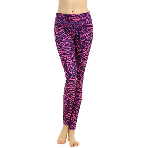 Myathle Women's Fashion Compression Slim Fit Yoga Running Workout Pants Color Red and Black Printing Size M