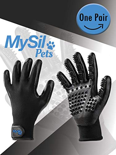 MySil 4 in 1 Pet Deluxe Grooming Glove. Best for Shedding, Bathing, Massaging & Brushing for Short or Long Hair. Gentle Touch for Dogs, Cats, Horses & Other Pets. Waterproof, Comfortable & Durable (1 4in Comb Grooming)