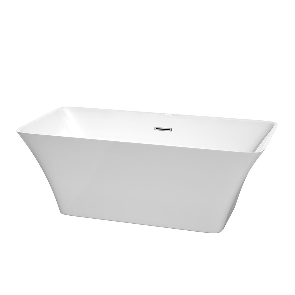 Wyndham Collection Tiffany 59 inch Freestanding Bathtub for Bathroom in White with Polished Chrome Drain and Overflow Trim