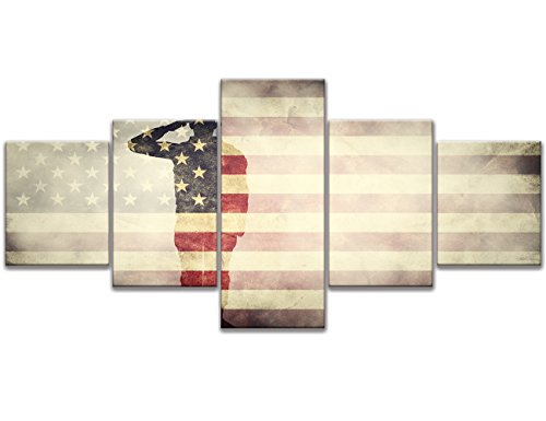 5 Panel Vintage American Flag Military canvas Soldier Print art USA home decor US wall art Hooks pictures for living room morden poster painting Framed Hooks Ready to - Posters American Patriotic