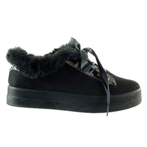 Pelliccia Moda Sneaker Cm 3 Nero Lacci Raso Tacco Piatto Scarpe Angkorly Da  In Donna 5 qgEwXt 1368c3a26d3