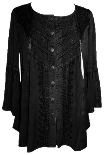 307 B Medieval Bohemian Embroidered Bottom Blouse Tunic [Black; M] ()