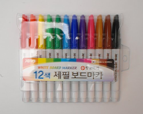 12 Color Set Java White Board Marker with Extra Fine Line 2.4mm Nib Dry Erase White Board -