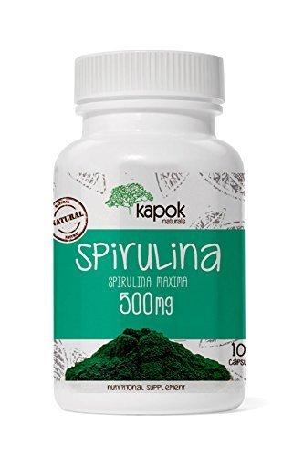 Kapok Naturals Spirulina Capsules. 100 Natural, Non-Gmo & Pure Spirulina Caps. Boost Immunity, Reduce Cholesterol. Algea Supergreen Spirulina Pills for Beta-Carotene, Chlorophyll, Iron, Protein