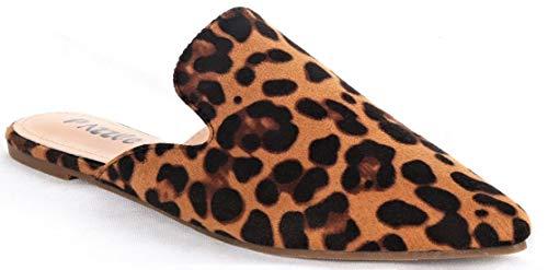 Bella Luna Milly-S1 Women Pointed Toe Slip On Kitten Low Heel Mules Flats Pumps Slides Leopard 7.5