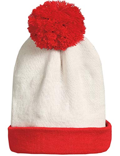 SSLR Adult Halloween Red White Waldo Christmas Beanie Hat (One Size, White Red)
