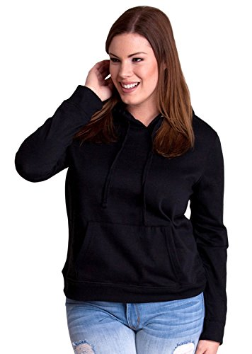 Black Ladies Plus Size Soft Drawstring Hoodie Kangaroo Pocket