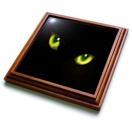 3dRose trv_6022_1 Green Eyes of a Black Cat Trivet with Ceramic Tile, 8 by 8