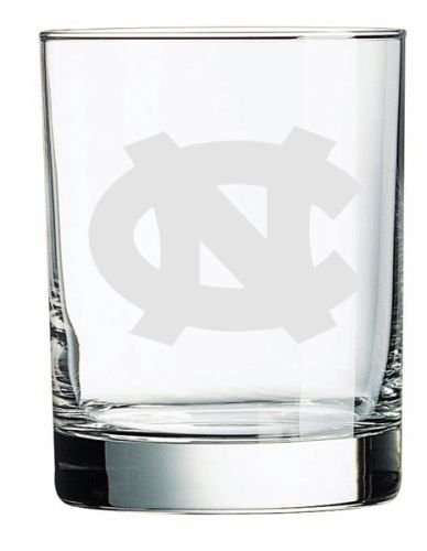 North Carolina Tar Heels Deep Etched Double Old Fashion - Double Fashioned Old Carolina