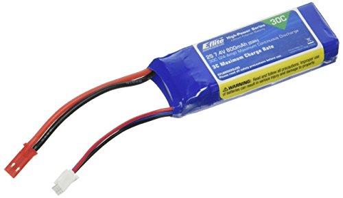 E-flite 800mAh 2S 7.4V 30C LiPo, 18AWG JST, EFLB8002SJ30
