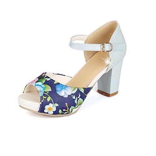 ancho Colores Surtidos AgooLar Flores Tacón Hebilla Mujeres con Sandalia Azul Peep xEwEF4CqX