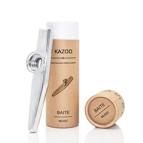 Exquisite Aluminum Alloy Kazoo with A Beautiful Gift Box (A good companion for a guitar, ukulele) (Silver)