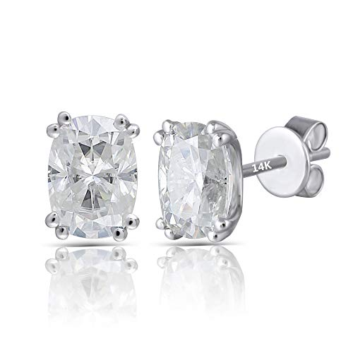 DovEggs Solid 14K White Gold 2ct 5X7mm H-I Color Cushion Cut Moissanite Stud Earring Push Back for Women