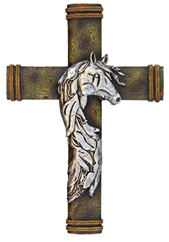 Horse Saddle Art (Montana West Wall Cross - Silver Horse on Tree Bark - Western Cowgirl Rope Details)