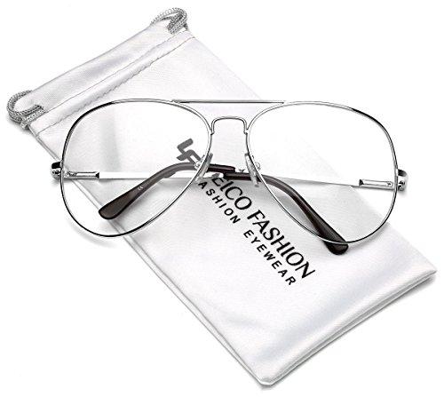 [Full Rim Metal Retro Aviator Non Prescription Clear Lens Glasses - UV400] (Cheap Nerd Glasses)