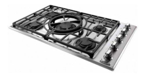 """Capital Maestro Series MCT365GSL 36"""" Sealed Burner Liquid Propane Cooktop With 5 Sealed Burners Indicator Lights Reversible Central Wok Grate and Electronic Ignition/Re-ignition in Stainless"""