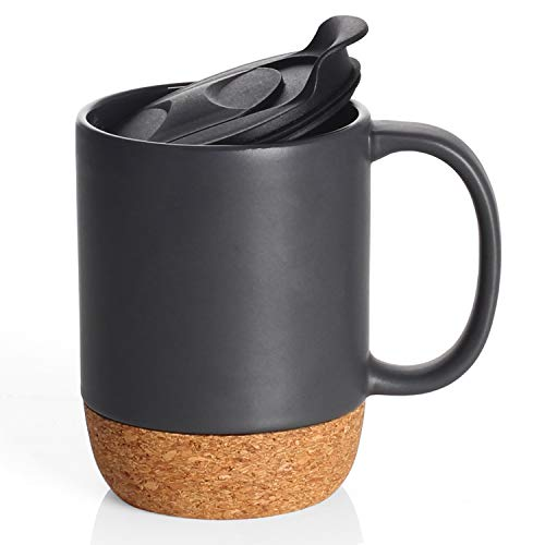 DOWAN 15 oz Coffee Mug Sets, Set of 2 Large Ceramic Mugs, with Insulated Cork and Splash Proof Mug Lid, Matte Black