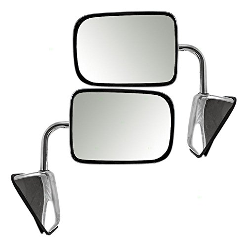 Mirror W250 Glass Dodge - Driver and Passenger Manual Side View Chrome Mirrors Replacement for Dodge Pickup Truck SUV 55074999 55074998