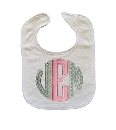 Personalized 3 Letter Initials Monogram Baby Boy or Girl Bib (Bib Baby Initial)