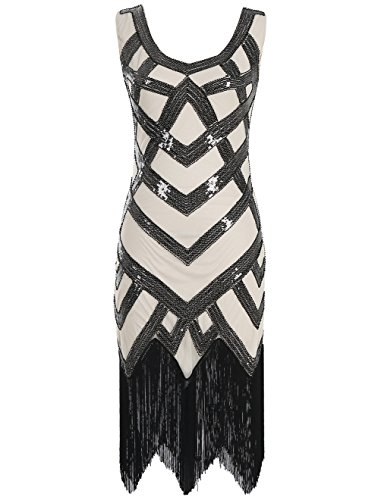 Emust Women's 1920s Beaded Sequin Crisscross Fringe Gatsby Flapper Dress Black with Beige Size ()