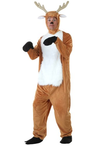 Fun Costumes Adult Deer Mens Faux Fur Jumpsuit Costume Standard Brown]()