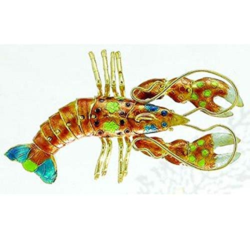 Home and Holiday Shops Orange Lobster Articulated Cloisonne Metal Christmas Tree Ornament Sea Life