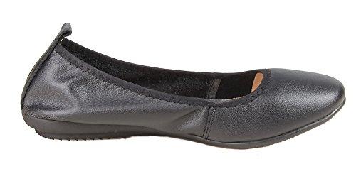 Kunsto Womens Genuine Leather Loafer Ballet Flats Black ptBya3o