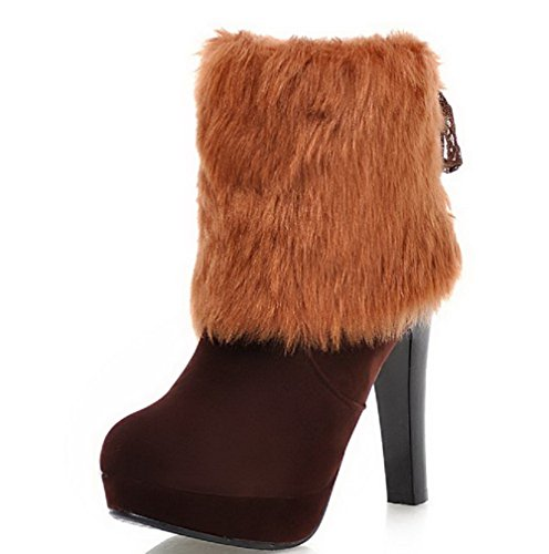Frosted Toe Closed High up Boots top Allhqfashion Heels Women's Brown Lace Round Low UxnqxF5Y