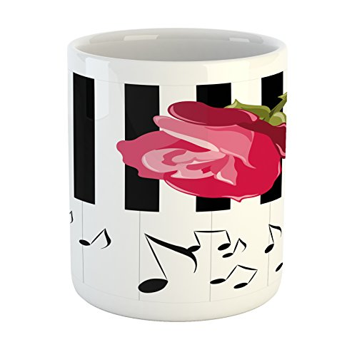 Modern Mug by Ambesonne, Hand Drawn Red Rose on Piano with Musical Notes Romantic Instrumental Art, Printed Ceramic Coffee Mug Water Tea Drinks Cup, Pink Black White