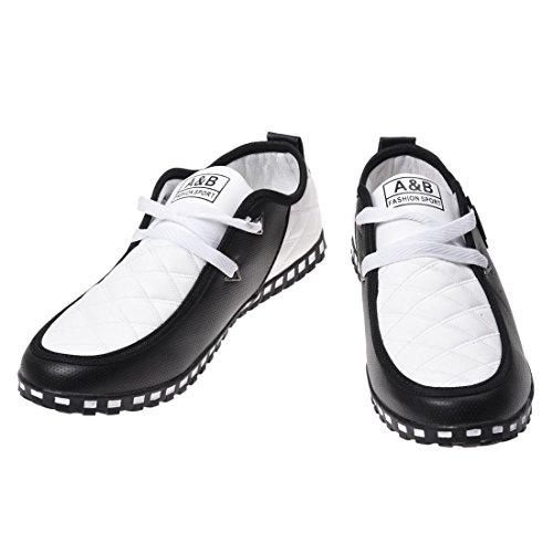 Maenner Turnschuhe - SODIAL(R)Maenner Turnschuhe aus Leder Wasserdichte Beilaeufige Sport Schuhe (Waehlen Sie bitte 0.5 Groesse groesser!) Kurzer Schnee Stiefel Schwarz + Weiss 8
