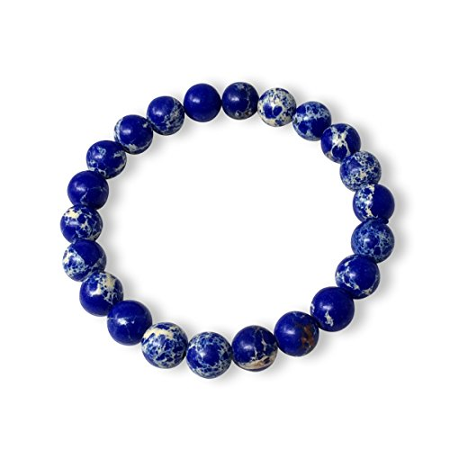 (Natural Lapis Blue Sea Sediment Jasper Gemstone Bracelet 7 inch Stretchy Chakra Gems Stones Healing Crystal Great Gifts GB8-35 )