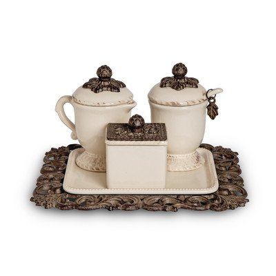 The GG Collection Creamer/Sweetener Set On Tray by The GG Collection