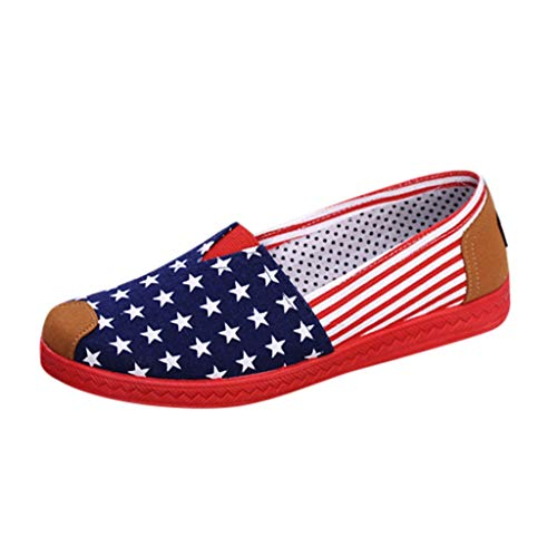 84408f36f604e 2019 New Womens Classic Canvas Round Toe Ballet Flats Slip On Plaid Star  Pattern Loafers Work Shoes Blue